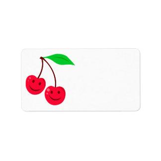 smiley happy face cherries address label