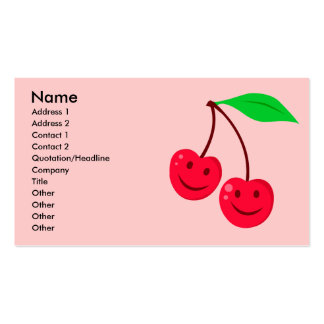smiley happy face cherries business card template