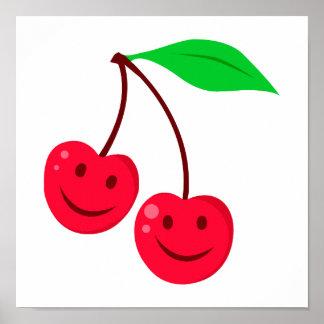 smiley happy face cherries print