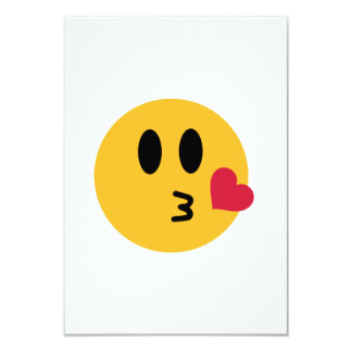 Smiley heart kiss 9 cm x 13 cm invitation card