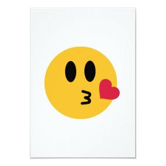 Smiley heart kiss 9 cm x 13 cm invitation card