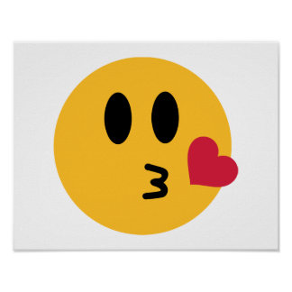 Smiley heart kiss poster