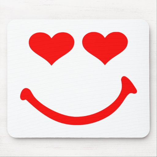 Smiley hearts mouse pad