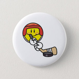 Smiley Hockey 6 Cm Round Badge