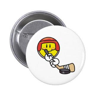 Smiley Hockey 6 Cm Round Badge