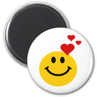 Smiley in Love 6 Cm Round Magnet