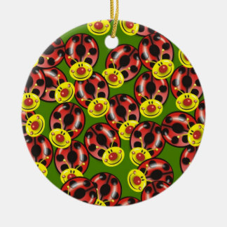 Smiley Ladybirds Round Ceramic Decoration