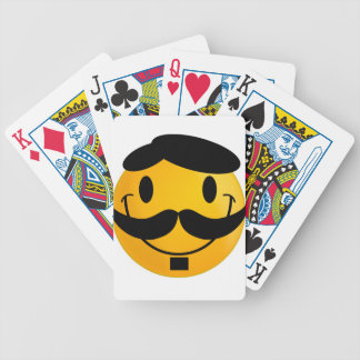 Smiley Moustache Bicycle Playing Cards
