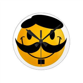 Smiley Moustache Round Clock