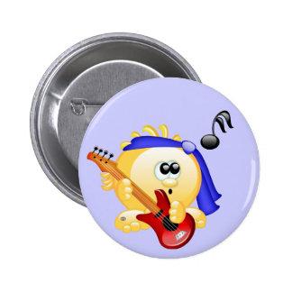 Smiley Music Guitar Player 6 Cm Round Badge