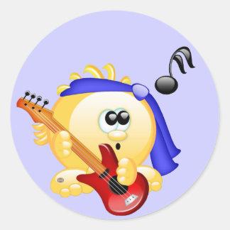 Smiley Music Guitar Player Classic Round Sticker