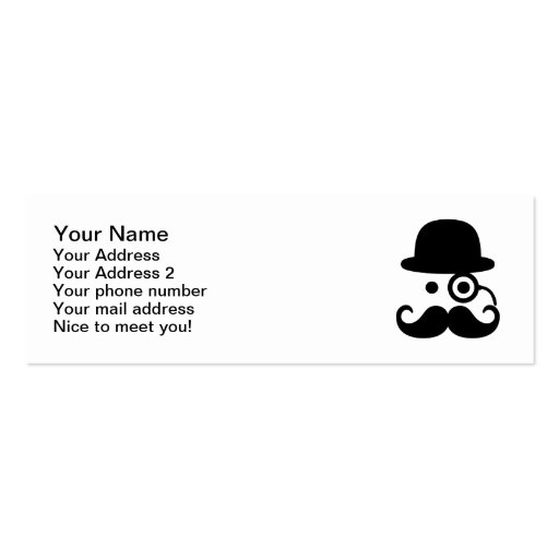 Smiley Mustache monocle Business Card Templates