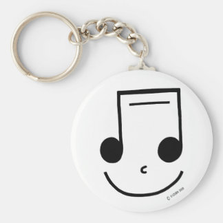 Smiley Notes Basic Round Button Key Ring