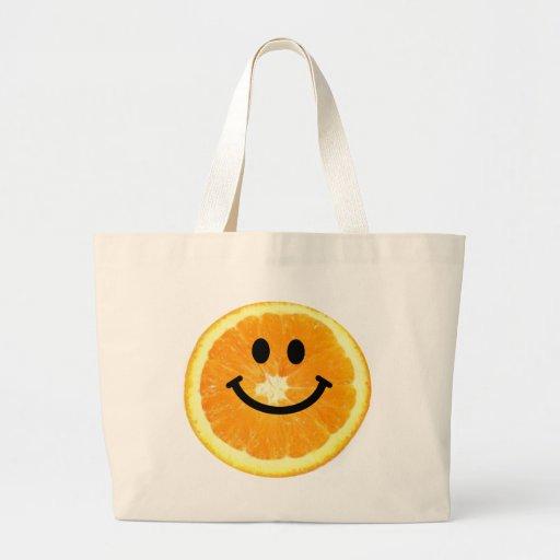 Smiley Orange Slice Canvas Bags