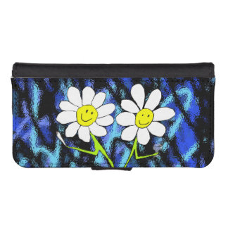 smiley party flowers phone wallet case