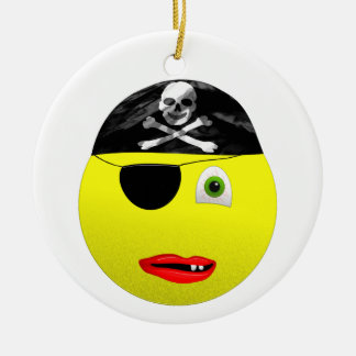 Smiley Pirate Ceramic Ornament