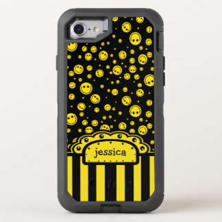 Smiley PolkaDot Name Template OtterBox Defender iPhone 8/7 Case