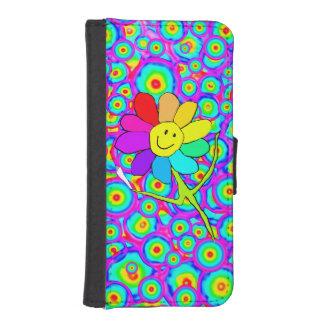 smiley rainbow festival flower phone wallet case