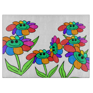 smiley rainbow flowers glass cutting board