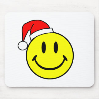 Smiley (Santa Hat) Mouse Pad