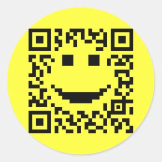 Smiley Scan UPC QR Design Classic Round Sticker