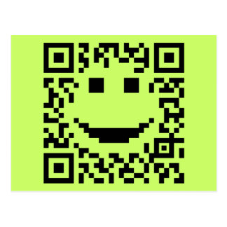 Smiley Scan UPC QR Design Postcard