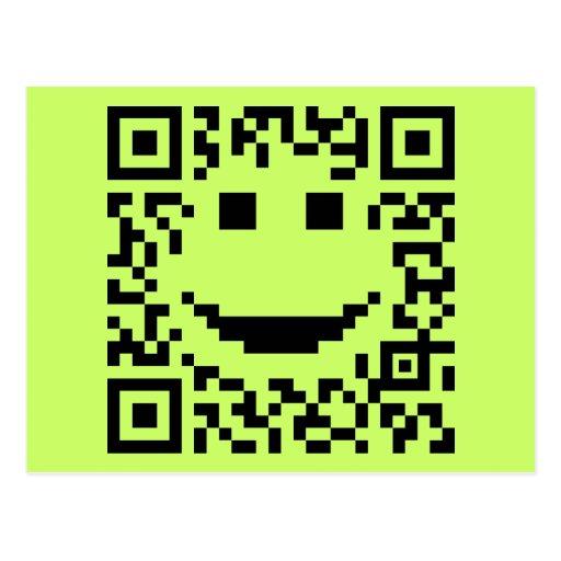 Smiley Scan UPC QR Design Post Cards