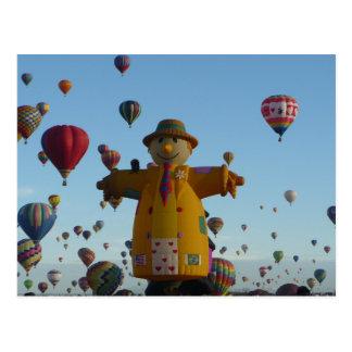 Smiley Scarecrow Hot Air Balloon Postcard