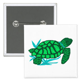 Smiley sea turtle button