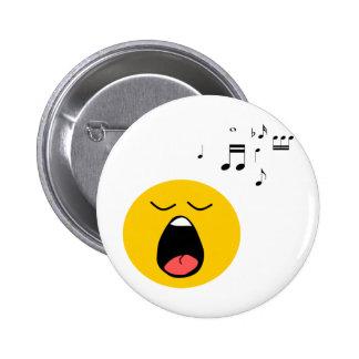 Smiley singer pinback button