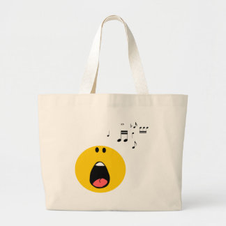 Smiley singing his little heart out large tote bag