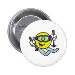 Smiley Skiing 6 Cm Round Badge