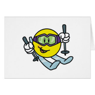 Smiley Skiing Greeting Card