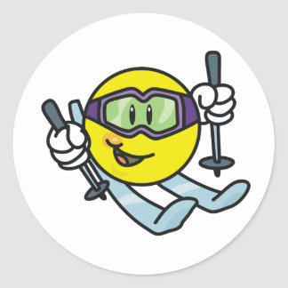 Smiley Skiing Round Sticker