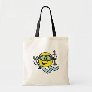Smiley Skiing Tote Bag