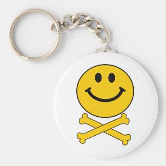 Smiley skull and crossbones key ring