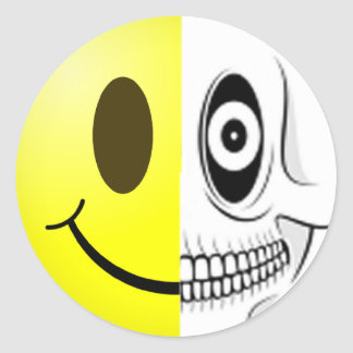 Smiley Skull Sticker