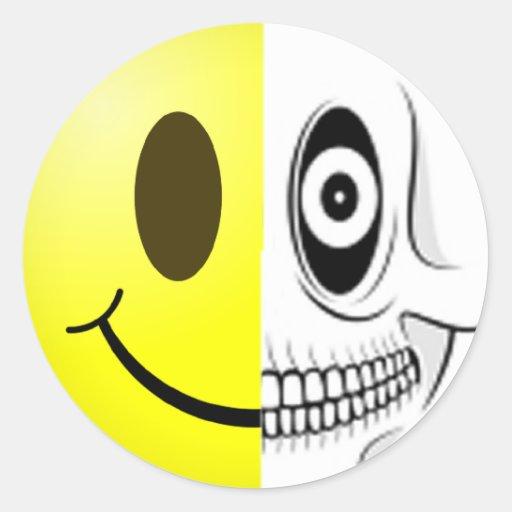 Smiley Skull Sticker Round Stickers