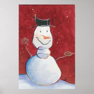 Smiley Snowman Canvas Artwork Poster