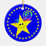 Smiley Star 10th Birthday Ornament