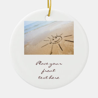 Smiley Sun On The Beach Christmas Ornament