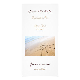 Smiley Sun On The Beach Customised Photo Card