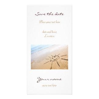 Smiley Sun On The Beach Customised Photo Card
