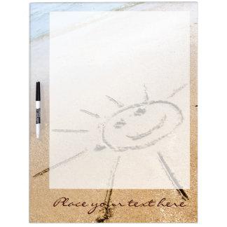 Smiley Sun On The Beach Dry Erase Board