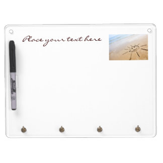 Smiley Sun On The Beach Dry Erase Board With Key Ring Holder