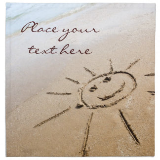 Smiley Sun On The Beach Napkin
