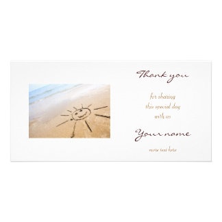 Smiley Sun On The Beach Photo Greeting Card