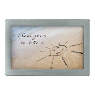 Smiley Sun On The Beach Rectangular Belt Buckles