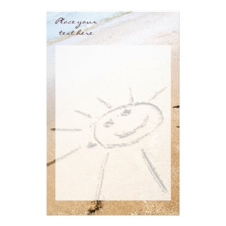 Smiley Sun On The Beach Stationery