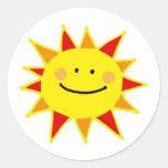 Smiley sun round stickers